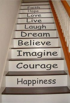 Inspirational Stair Riser Decals, Stair Decals, Stair Stickers, Wall Decals