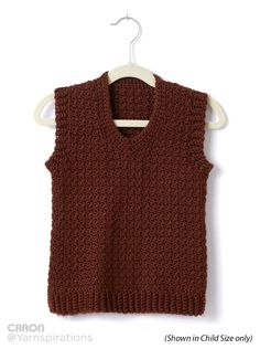 Adult Crochet V-Neck Vest Xs to 5 xl, 2-5 ball Caron simply soft