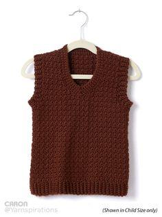 Adult Crochet V-Neck Vest Xs to 5 xl, 2-5 ball Caron simply soft
