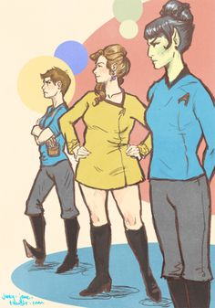 Rule 63 Star Trek - Bones, Kirk and Spock