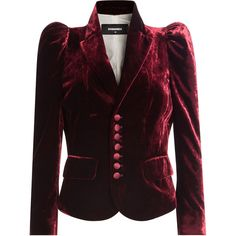 Dsquared2 Velvet Jacket (€1.310) ❤ liked on Polyvore featuring outerwear, jackets, red, fitted jacket, dsquared2 jacket, velvet jacket, purple jacket and dsquared2