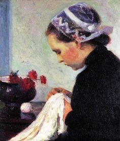 It's About Time: Girls learning to sew in 18th-20th century portraits - Bernhard Gutmann (German-American artist, 1869-1936) The Sewing Girl 1911