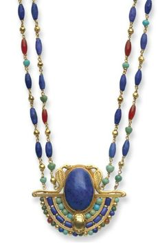 Necklace | Louis Comfort Tiffany. 'Egyptian Revival'  Suspending a pendant, bezel-set with an oval cabochon lapis lazuli, framed along the bottom by a three-tiered arch of turquoise, lapis lazuli, amber and gold beads, accented by sculpted gold asps and a scarab, to the double-strand neckchain of gold, lapis lazuli, turquoise and amber beads, mounted in gold.  circa 1913