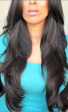 very long layer hair cut back view   Long Hair Layered Haircuts Back View Xahets …