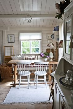 really love all the white wood.  So wanted a wood ceiling in my farm house kitchen!