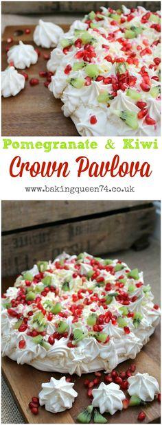 Pomegranate and kiwi crown pavlova