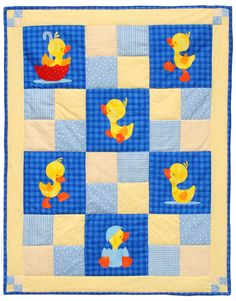 """Ducky Day quilt pattern measures 39"""" x 50"""". Just love these little quackers!"""