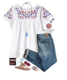 """"""""""" by mikayla7lynn ❤ liked on Polyvore featuring Bobbi Brown Cosmetics, Rebecca Taylor, American Eagle Outfitters, Kendra Scott, Bare Escentuals, MAC Cosmetics, Essie, Tory Burch and Panacea"""
