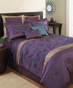 Nicole Miller FEATHERS COMFORTER SET Cal King blue peacock ...