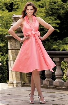 A-line Halter Knee-length Sashes/ Ribbons #Bridesmaid #Dress Style Code: 04990 $69