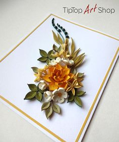 Homemade paper quilling greeting card with unique design and great craftsmanship! Occasion: Birthday, Anniversary, Mothers day, Thank You card. Recipient: Mother, Grandmother, Sister, Wife, Girlfriend or any woman in your life! Product information: This greeting card is made in