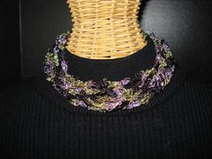 Adjustable Ladder Yarn Necklace - Purples and Green