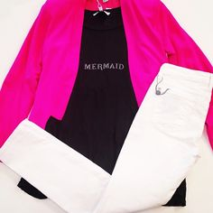 You can be a mermaid whenever you want with this look! #mermaid #wildfox #workflow #casual #hotpink #whitedenim #style #boutique #love #chic