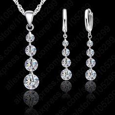 Romantique 925 Sterling Argent Lien Chaîne Pendentif En Cristal Ensemble de Bijoux Pour Les Femmes Foulard Bijoux De mariage