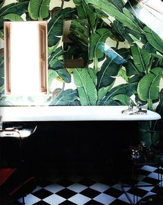 Black & White Tile with Palm Leaf Wallpaper   Washroom     { Home Couture ///