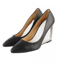 #Black #Leather #Korean #Transparent #Wedge #High #Heels #Court #Shoes #SS13 £47.99 (Free Shipping) @ ShanghaiTrends.co.uk