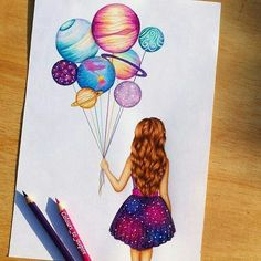 art, drawing, and planet image tattoo girl drawing Image in Art collection by Shan on We Heart It Amazing Drawings, Beautiful Drawings, Cute Drawings, Cool Drawings Tumblr, Galaxy Drawings, Cool Artwork, Amazing Artwork, Cool Paintings, Cute Art