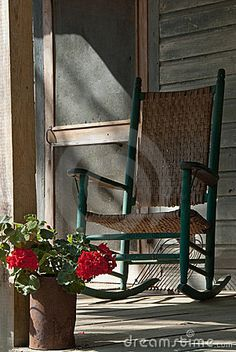 Old Rocking Chair on Cracker House Porch by Sunspotkat, via Dreamstime Like the rocker and the door Front Door With Screen, Old Screen Doors, Old Doors, Home Porch, House With Porch, Old Rocking Chairs, Cracker House, Red Geraniums, Farmhouse Front