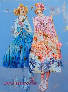 Perdu les pétales. 125 x 93 cm By Lilas Blano Whimsical Fashion, Whimsical Art, One Stroke Painting, Figure Painting, Art Fantaisiste, Art For Art Sake, Color Theory, Medium Art, Figurative Art
