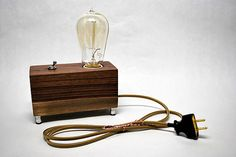 Walnut box with Edison bulb