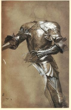 Frank Dicksee Study of armour for the painting 'The Two Crowns' in the Tate, London (RA 1900; NO1839); turned to front, with reins in left hand  Brush drawing in grey wash, touched with white, over graphite, on grey paper