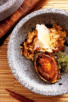 Fried abalone with porcini risotto