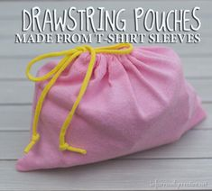 DIY Sewing Tutorials | Repurpose t-shirt sleeves into drawstring pouches. They are perfect for storing small toys and household items and even make cute gift/party favor bags!