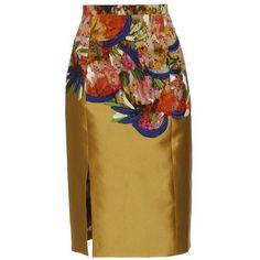 ERDEM 'Clementine' Embroidered Silk-Blend Pencil Skirt - brownsfashion.com