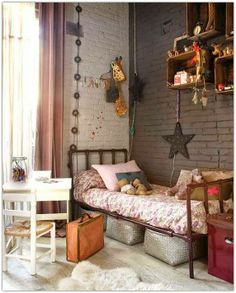 Art Symphony: Outstanding Pink Loft Pink, dusk, beige, industrial twist, vintage charm all in this girl's room