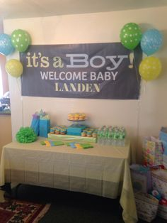 Blue green yellow baby shower