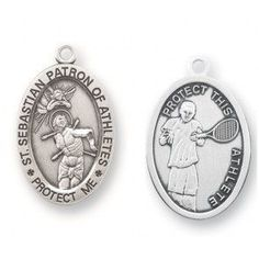 Saint Sebastian Oval Sterling Silver Tennis Athlete Medal