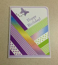 Washi tape, birthday, purple, home made card
