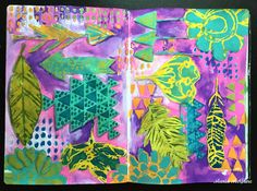 Mixed Media Art Journal page by Maria McGuire in a Fabriano EcoQua Notebooks using stencils designed by Rae Missigman for StencilGirl.