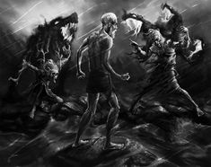 In Finnish folklore, a powerful mage is ambushed by a river by witches while performing a ritual. Attack of the Witches Raise The Dead, Jojo Memes, Folklore, The Magicians, Mythology, Oil On Canvas, Character Design, Creatures, Deviantart