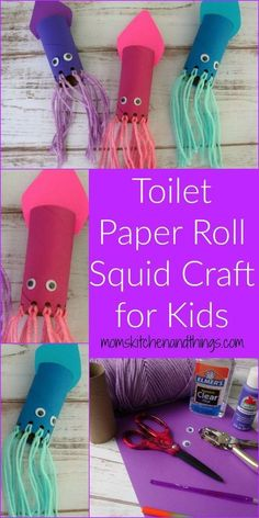 Toilet Paper Roll Squid Craft for Kids - Craf - Top Paper Crafts Craft Activities For Kids, Diy Crafts For Kids, Projects For Kids, Fun Crafts, Arts And Crafts, Craft Ideas, Quick Crafts, Paper Craft For Kids, Baby Crafts