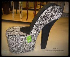 Sexy Zebra Stiletto Chair- Shoe chair   Love It!