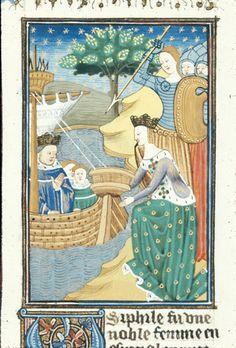 BL Royal 16 G V f.19 - Hypispyle helping Thoas to escape by sea to Chios.[De claris mulieribus in an anonymous French translation (Le livre de femmes nobles et renomées) - G. Boccaccio - 1440] [http://en.wikipedia.org/wiki/De_mulieribus_claris]