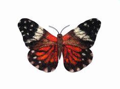 Hand Felted Brooch   Orange butterfly by lannarfelt on Etsy, $25.00