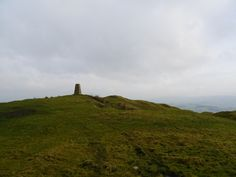 Trig point on Beacon Hill above the Ribble Valley on the eastern side of the Forest of Bowland.