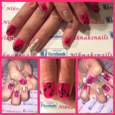 Neon pink music nails