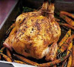 Roast chicken & sticky carrots