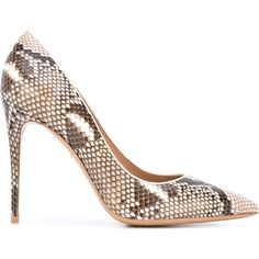 Salvatore Ferragamo python-effect Fiore pumps ($822) ❤ liked on Polyvore featuring shoes, pumps, brown, snake print pumps, stiletto shoes, brown leather shoes, brown pointed toe pumps and leather pumps