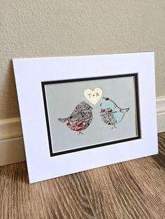 Custom Love Birds Map Art First Anniversary or by HandmadeHQ