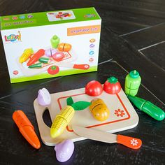 Farm Fresh Cutting Vegetables and thousands more of the very best toys at Fat Brain Toys. Each of these beautifully painted, high quality wooden vegetables is made up of two halves connected by a hook-and-loop fastener. Use the child-safe knife to cut them each in half – It feels like real life!
