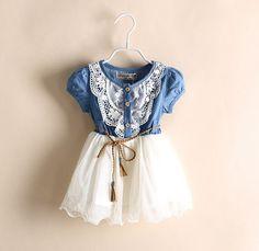 2014 moda vestido de verano se viste de mezclilla para las niñas niños jeans muchacha del vestido del tutú lindo niños hermosos ropa
