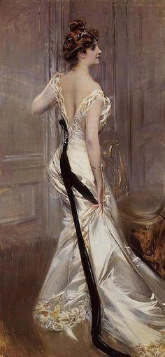 """The Black Sash"" (1905) by Giovanni Boldini,  Italian  painter."
