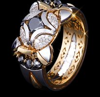 Gold - 18k/24gr Diamond - 2.4ct.E-F/VVS Black- diamond
