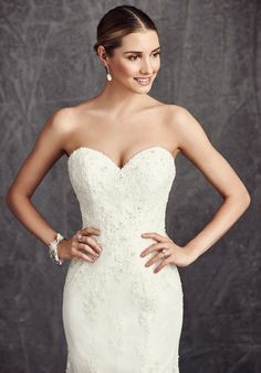 Sincerity wedding dress style 3933 Embroidered Venice lace adorns this ...