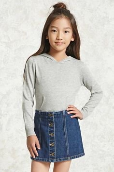 Forever 21 Girls - A woven denim skirt featuring a button-down front, topstitched vertical seams, and an elasticized back waist.