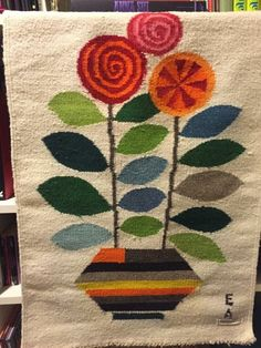 Vintage Evelyn Ackerman Lillipop Mid-Century Signed E A Woven Wool Tapestry